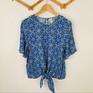 3/20$ Allison Joy Mandala Front-tie Blouse